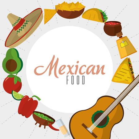 Mexican food icon set design