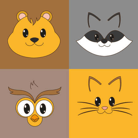 Icon set cartoons of animal cute and adorable creature theme Vector illustration