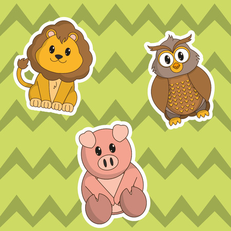 Icon set cartoons of animal cute and adorable creature theme Vector illustration. Illustration