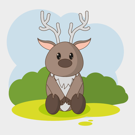 Reindeer cartoon of animal cute and adorable creature theme Vector illustration Illustration
