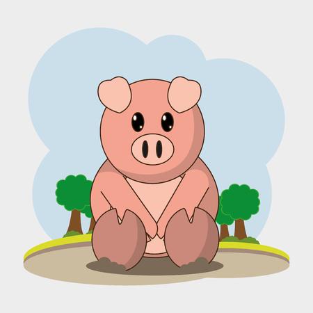 Pig cartoon design.