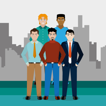 Avatar men of diversity people and multiracial theme Vector illustration
