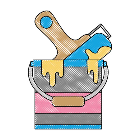 Grated paint can with roller art design vector illustration.
