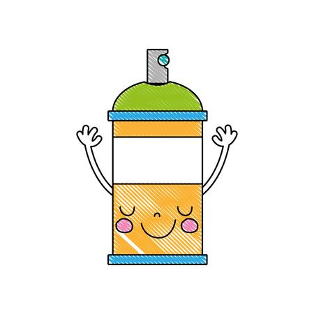 A grated emoji cute happy aerosol spray vector illustration