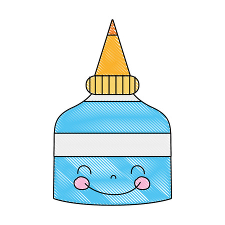 A grated kawaii cute happy glue bottle vector illustration