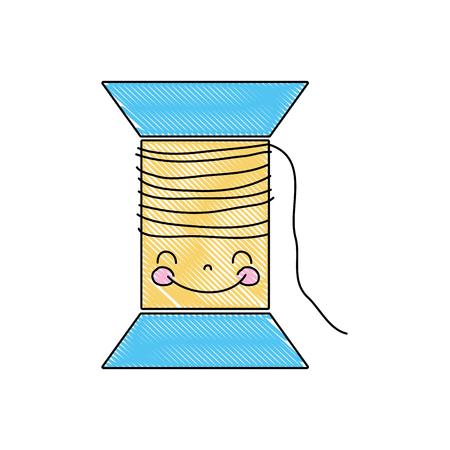 grated kawaii cute happy thread object vector illustration 일러스트