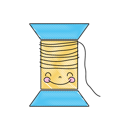 grated kawaii cute happy thread object vector illustration Иллюстрация