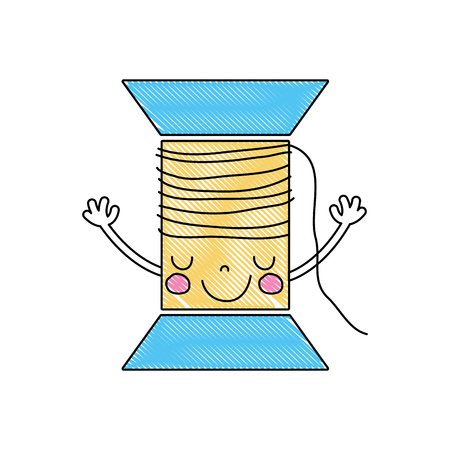 Grated kawaii cute happy thread with arms vector illustration