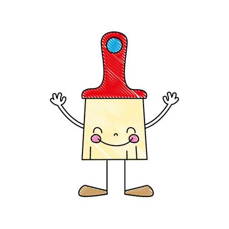 grated kawaii happy brush object with arms and legs