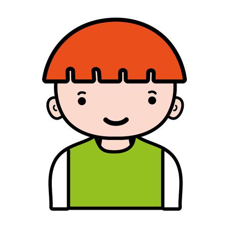 happy boy with light brown hair and t-shirt vector illustration Ilustração