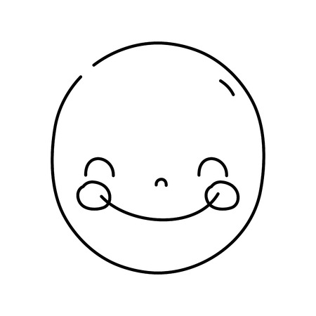 line face cute happy  expression vector illustration