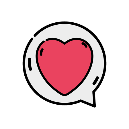Heart sign of love inside chat bubble vector illustration.