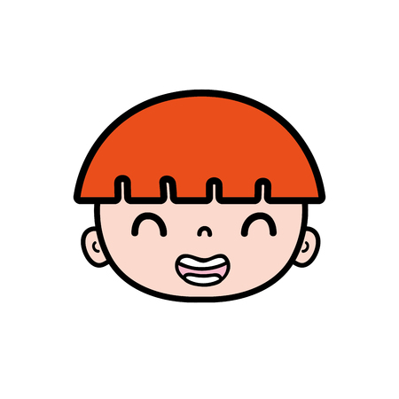 smile boy head with light brown hair vector illustration