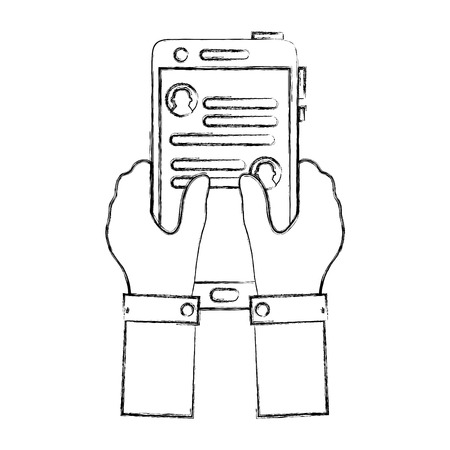 figure hands with smartphone and whatsapp chat message vector illustration