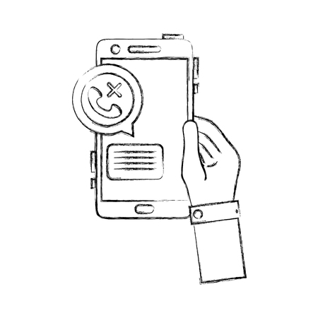 figure hand with smartphone and lost call message vector illustration
