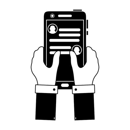 Contour hands with smartphone and WhatsApp chat message vector illustration.