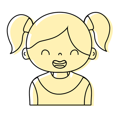 Color smile girl with two tails hair design illustration.