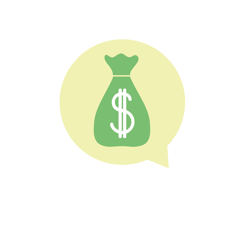 colorful bag with dollar sign inside chat bubble vector illustration Illustration