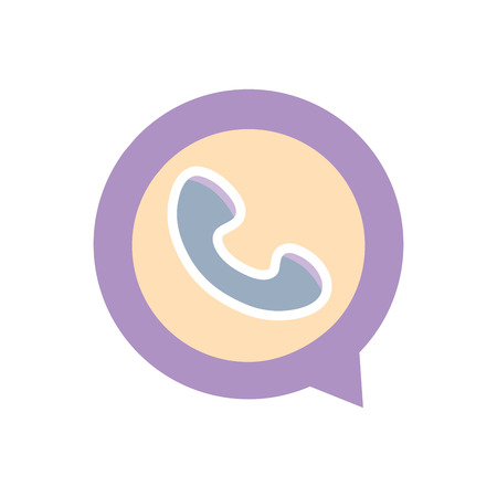 colorful phone call sign inside chat bubble vector illustration
