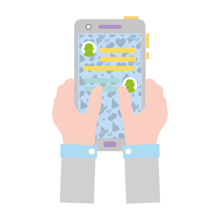 colorful hands with smartphone and whatsapp chat message vector illustration