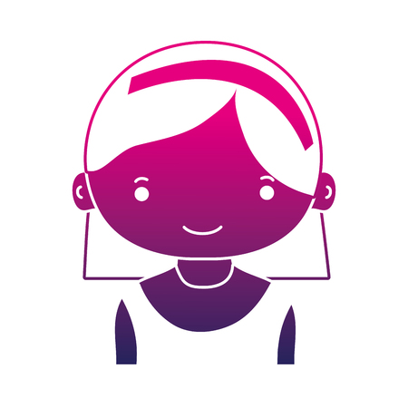 silhouette happy girl with hairstyle and headband design Illustration