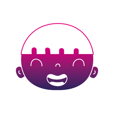 Silhouette smile avatar boy head with hair illustration,