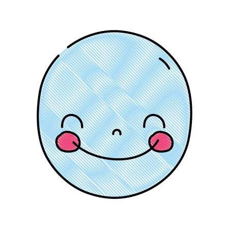 Grated face cute happy kawaii expression. Иллюстрация