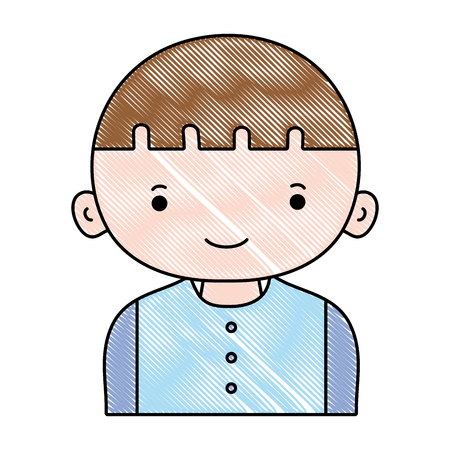 grated happy boy with hair and t-shirt Illustration