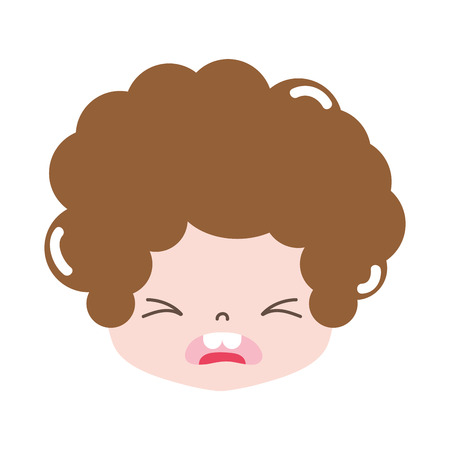 full color boy head with curly hair and pity face