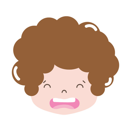 full color boy head with curly hair and disgusted face Stock Illustratie