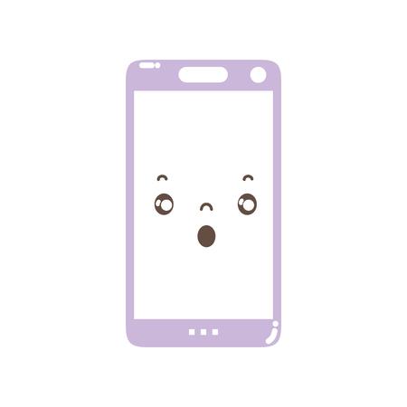 Visage effrayé mignon de smartphone de kawaii polychrome.