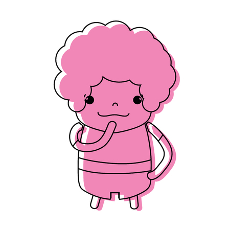 color boy with curly hair and thinking face Illustration