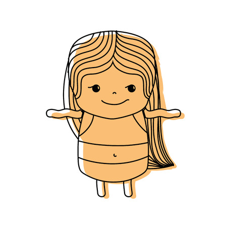 color girl wth long hair and rogue face vector illustration Illustration