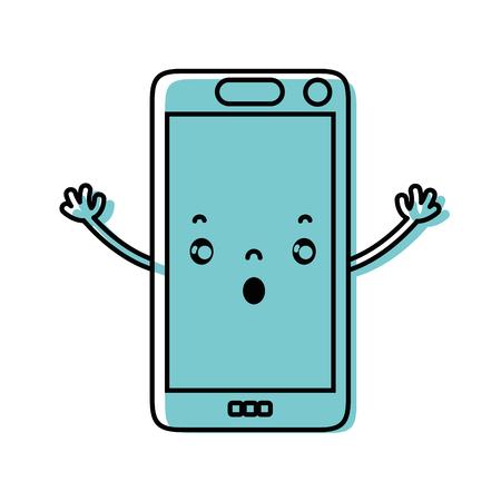 couleur smartphone mignon visage effrayé