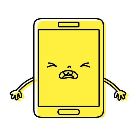 couleur smartphone mignon visage pitié