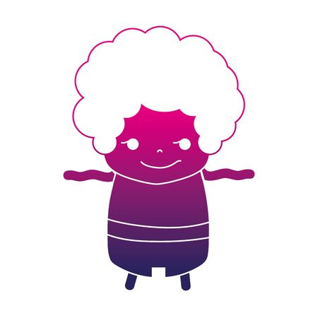 Silhouette of boy with curly hair and rogue face illustration