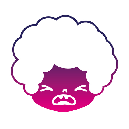 silhouette boy head with curly hair and pity face vector illustration