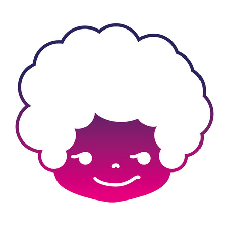silhouette boy head with curly hair and rogue face vector illustration Illustration