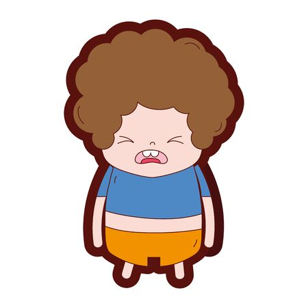 line color boy with curly hair and pity face vector illustration