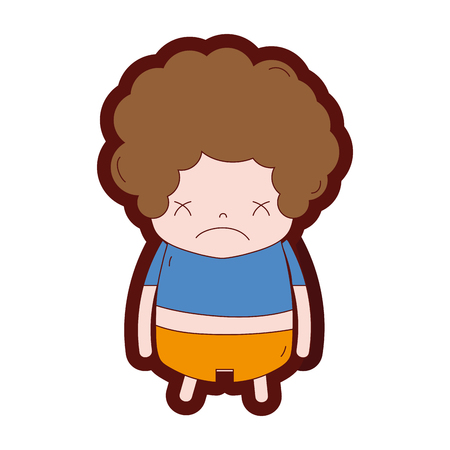 line color boy with curly hair and sad face vector illustration Illustration