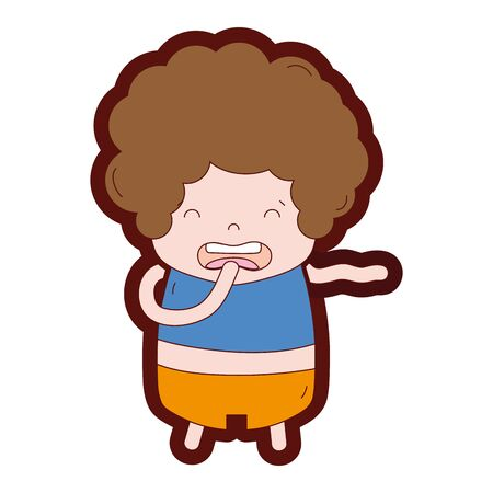 Line colored boy with curly hair and disgusted face vector illustration