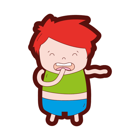 Line color boy with hairstyle design and disgusted face illustration.