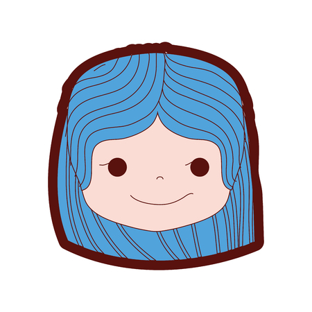 Line color girl head with hairstyle and rogue face illustration.