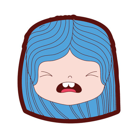 Line color girl head with hairstyle and pity face illustration Illustration