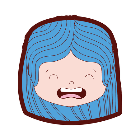 Line color girl head with hairstyle and disgusted face illustration Illustration