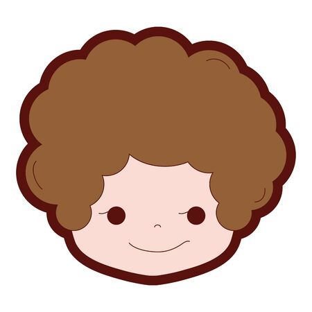 Cartoon boy head with curly hair and rogue face