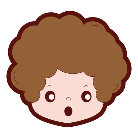 line color boy head with curly hair and scared face vector illustration Illustration