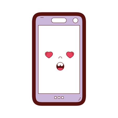 Couleur de la ligne smartphone kawaii mignon en illustration vectorielle de visage amoureux Vecteurs