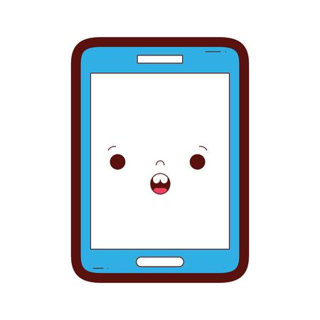 couleur de la ligne kawaii smartphone illustration vectorielle surpris visage surpris Vecteurs