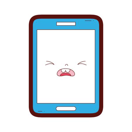 ligne couleur kawaii smartphone pitié mignon visage illustration vectorielle Vecteurs